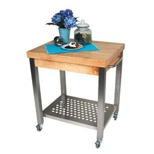 Cucina Americana Technica Kitchen Cart with Butcher Block Top