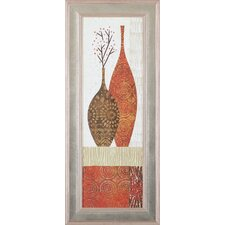 'Spice Stripe Vessels Panel IV' by Wild Apple Portfolio Framed Graphic Art