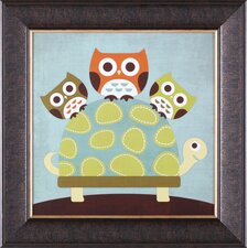 ''Three Owls on Turtle'' Framed Art
