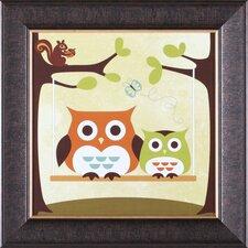 ''Two Owls on Swing'' Framed Art