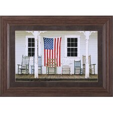 Chair Family with Flag by Zhen-Huan Lu Framed Painting Print