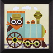 Owl Train Conductor Framed Art