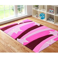 Kids Pink Star Tufted Rug