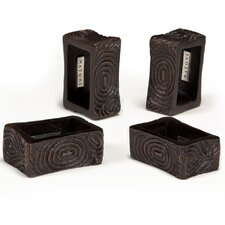 Wood Grain Napkin Ring Set (Set of 4)