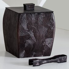 <strong>Natori</strong> Woodgrain Ice Bucket with Tong with Lid and Liner