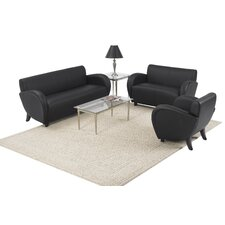 Eleganza Black Eco Leather Reception Set