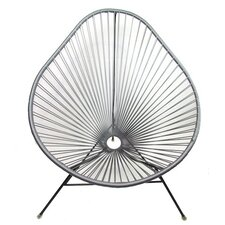 Authentic Acapulco Indoor / Outdoor Chair with Black Frame in Metallic Silver