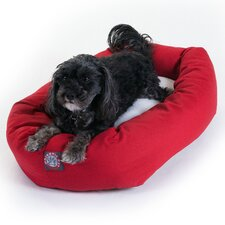 Bagel Dog Bed in Red and Sherpa