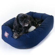 Bagel Dog Bed in Blue and Sherpa