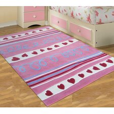 Curious Owl Pink Hearts Kid's Rug Linear