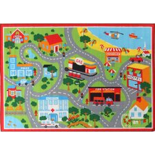 Road 2 Multi Rubber Backed Kids Rug