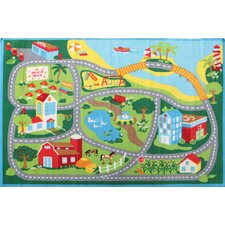 Road 3 Multi Rubber Backed Kids Rug
