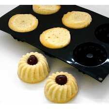 Heavy Duty Non-Stick Silicone 6 Hole Mini Savarin Bundt Doughnut Mould