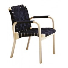 45 Arm Chair with Black Leather Arm Windings