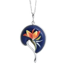 Rhodium Plated Brass and Porcelain Bird of Paradise Necklace