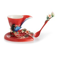 Joyful Magpie Cup, Saucer and Spoon Set