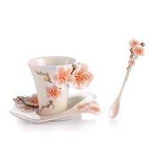 Four Seasons Plum Blossom Cup, Saucer and Spoon Set