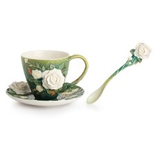 <strong>Franz Collection</strong> Van Gogh Roses Flower Cup, Saucer and Spoon Set
