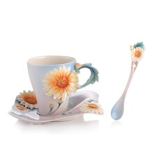 Four Seasons Chrysanthemum Cup, Saucer and Spoon Set