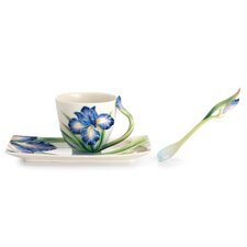 Eloquent Iris Flower Cup, Saucer and Spoon Set