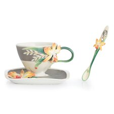 Magnificent Cattleya Orchid Cup, Saucer and Spoon Set