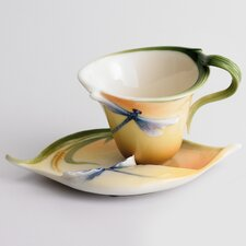 Dragonfly Porcelain Cup, Saucer and Spoon Set