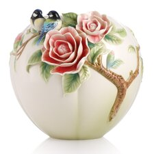 Joyful Spring Chickadee and Camelia Vase
