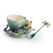 <strong>Franz Collection</strong> Peacock Splendor Porcelain Tea Cup Set