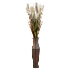 Tall Onion Grass in Tall Wood Decorative Vase