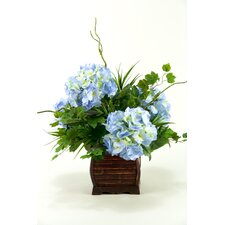 Hydrangeas with Foliage in Rectangle Bamboo Planter