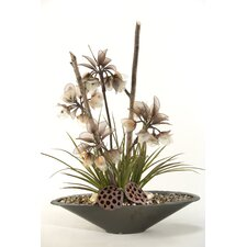 <strong>D & W Silks</strong> Lighted Crown Flowers and Grasses in Oval Planter