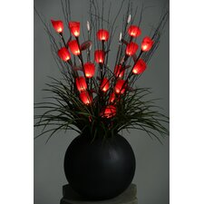 <strong>D & W Silks</strong> Lighted Tulips in Resin Ball Planter