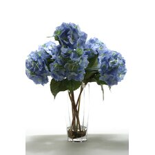 <strong>D & W Silks</strong> Hydrangeas in Hexagon Glass Vase