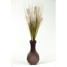 Tall Onion Grass in Tall Wooden Vase