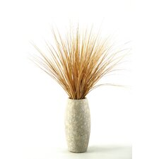 Beach Onion Grass in Round Tapered Stone Decorative Vase