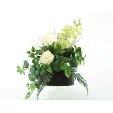 Peonies, Orchids and Fern in Oval Metal Planter