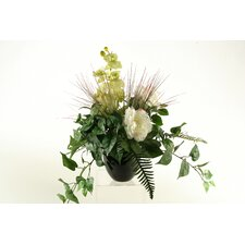 Peony and Orchid with Mixed Foliage in Round Ceramic Planter
