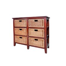 Six Drawer Mahogany and Wicker Unit