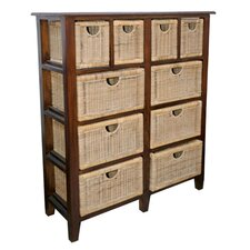 Ten Drawer Mahogany and Wicker Unit