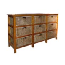 Nine Drawer Large Mahogany and Wicker Unit