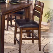 "Willow 24"" Barstool with Slat Back in Rich Burnished Dark Brown Wood"