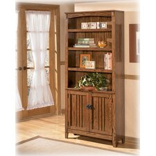 Cross Island Large Bookcase with Doors in Medium Brown Oak