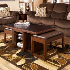 Lamoine Coffee Table with 2 Nesting Ottomans