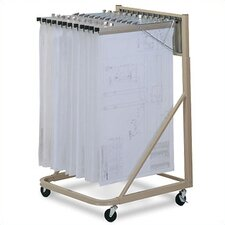 Vertical Plan Files Rolling Stand Filing Cart
