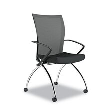 High-Back Mesh Nesting Chair with Arms (Set of 2)