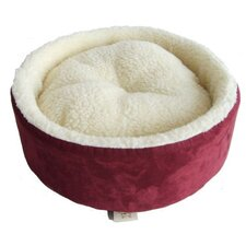 Round Nest Pet Bed in Burgundy Suede