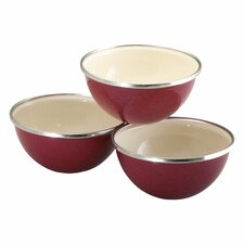 3 Piece Enamel on Steel Prep Bowl Set in Red