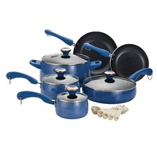 Porcelain 15 Piece Cookware Set in Red Speckle