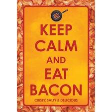 Keep Calm Eat Bacon Tin Sign Textual Art