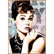 Audrey Close Up Tin Sign Graphic Art